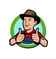 farmer logo or label farming agriculture vector image vector image