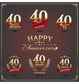 Forty years anniversary signs collection vector image vector image