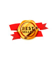 glossy golden badge with red tape best seller vector image