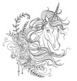 graceful unicorn coloring book vector image
