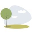 Green tree on the hill at blue sky spring day vector image vector image