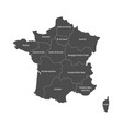 grey map of france divided into 13 administrative vector image