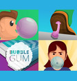 gum banner set cartoon style vector image
