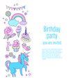 happy birthday holiday card with stars sweets vector image vector image