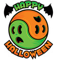happy halloween ghost yin-yang vector image vector image