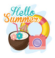 hellow summer poster with holiday icons vector image vector image