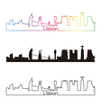 Lisbon skyline linear style with rainbow vector image vector image
