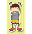 Little boy having both hands up vector image vector image