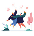 man and woman jumping people characters for refer vector image vector image