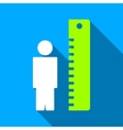 Man Height Meter Flat Long Shadow Square Icon vector image vector image