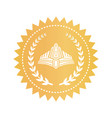 medieval diadem and laurel branches on gold stamp vector image vector image