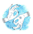 mudra yoga elegant female hands with boho tattoos vector image