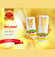 pasta advertisement realistic banner vector image vector image