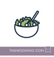 salad bowl icon harvest thanksgiving vector image