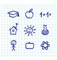 school doodle icons blue vector image vector image
