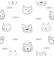 seamless face cat pattern vector image vector image