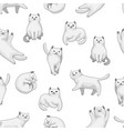 seamless pattern with cartoon white cats vector image vector image