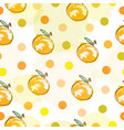 seamless pattern with oranges and polka dots vector image