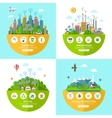set flat ecology concept vector image vector image