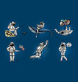 set of astronauts in space pop art collection vector image