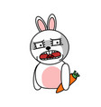 shocked rabbit sticker isolated bunny with carrot vector image