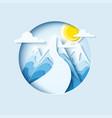 ski slopes paper cut banner vector image