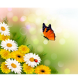 Spring background Flowers and a butterfly vector image vector image