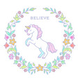 unicorn in floral wreath vector image vector image