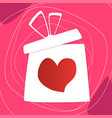 valentines day concept gift box and heart shape vector image