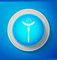 white sausage on fork icon on blue background vector image vector image