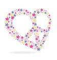 Peace heart sign made of flowers vector image