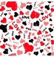 Hearts Valentine Background with Painted Love Word vector image