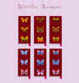 set of bookmarks colorful butterfly decor vector image