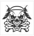 Skull Native American and crossbones - isolated on vector image