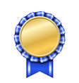 award ribbon gold icon golden blue medal design vector image