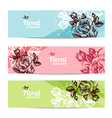 Banners with floral background vector image vector image