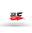 be b e brush logo letters with red and black vector image vector image
