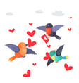 birds with hearts in beak and envelope flying vector image vector image