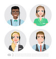 call center operator icons cartoon vector image