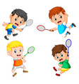 collection of the profesional badminton player vector image