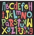 Colorful chalk board letters and numbers Vintage vector image vector image