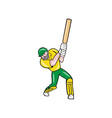 Cricket Player Batsman Batting Front Cartoon vector image vector image