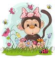 cute cartoon monkey on a meadow vector image vector image