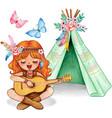 cute watercolor ginger girl playing guitar vector image
