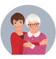 Elderly mother and adult daughter vector image vector image