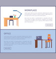 empty workplace with table plastic chair laptop vector image vector image