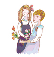 Girls with flowers cute sketch vector image vector image
