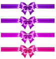 glitter ultra violet and pink bows with ribbons vector image