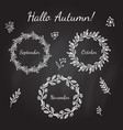 hand drawn vintage autumn wreaths with branches vector image vector image