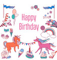 happy birthday holiday card with balloons rainbow vector image vector image